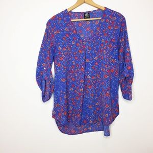 Bobeau floral tunic blouse blue red pink large EUC